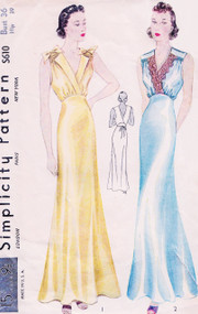1930s SLINKY Bias Cut Nightgown Lingerie Pattern SIMPLICITY S610 Two Beautiful Glamorous Styles Bust 36 Vintage Thirties Sewing Pattern