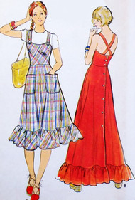 70s CUTE RETRO Jumper Dress or Sun Dress Pattern BUTTERICK 4200 Back Button Boho Dress Full Skirt Jumper Sundress Ruffle Hem Fitted Bodice Bust 36 Vintage Sewing Pattern UNCUT