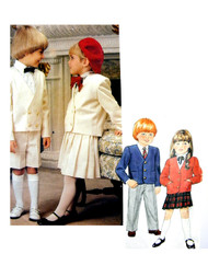 Vintage Little Vogue 1313 Pattern Childrens Toddlers Formal Wedding Single or Double Breasted Jacket, Pleated Skirt, Trousers and Shorts Size 3 Vintage Sewing Pattern UNCUT