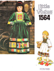 Boho Little Vogue Pattern 1564 Childrens Patchwork Peasant Folk Wear Dress Sz 6X Vintage Bohemian Style Young Girls Couture Clothing Sewing Pattern