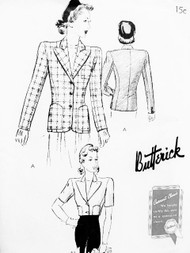 1940s CLASSY Jacket Blazer Pattern BUTTERICK 9313 Beautiful Design in 2 Lengths Day or Evening Bust 32 Vintage Forties Sewing Pattern FACTORY FOLDED