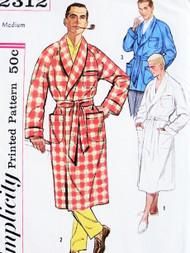Vintage Mens CLASSIC Robe and Lounge Jacket Sewing Pattern UNCUT Size Medium lounging Robe Bathrobe