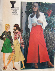 1970s MARY QUANT Butterick 5895 Vintage Sewing Pattern Front Button Skirt Regular  Midi or Maxi Skirt Peasant Style Blouse or Dress Pattern Bust 38 UNCUT