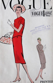 1950s VOGUE Special Design 4879 Vintage Sewing Pattern sleek Slim Two Piece Dress Regular or Tunic Overblouse Bust 34 Uncut