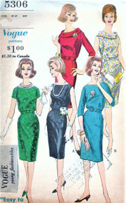 1960s VOGUE 5306 Slim Dress Slightly Bloused Bodice Bias Roll Collar Short Sleeves and Sleeveless Vintage Sewing Pattern