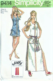 70s BEACH Dress Cover Up Mini and Maxi Dress Pattern SIMPLICITY 9414 Bust 32 Vintage Beachwear Sewing Pattern UNCUT