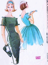 60s BEAUTIFUL Dress Pattern McCalls 5776 Cocktail Evening Bombshell Slim or Full Skirt Bateau Neckline V Back Flirty Split Sleeves With Ties Bust 33 Easy To Sew Vintage Sewing Pattern