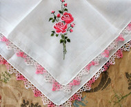 BEAUTIFUL 1950s Vintage Hanky Embroidered Pink Roses Hand Tatting Lace Edge Handkerchief  Tatted Lace Hankie