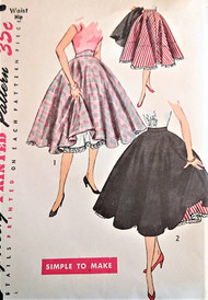 50s FLIRTY Circle Skirt and Petticoat Slip Pattern SIMPLICITY 3813 Full Rockabilly Skirt , Flared Petticoat Simple to Make Waist 24 Vintage Sewing Pattern