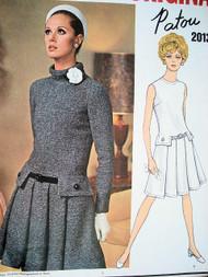 60s PATOU Drop Waist Dress Pattern VOGUE PARIS Original 2013 Front Pleats Standing Bias Collar or Jewel Neckline Very KATE MIDDLETON Size 10 Vintage Sewing Pattern UNCUT