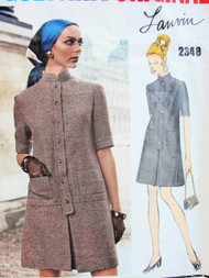 1960s MOD Lanvin Dress Pattern VOGUE Paris Original 2348 Front Button Stylish Dress Daytime or After 5 Bust 32 Vintage Sewing Pattern