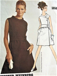 1960S LOVELY Cocktail or Day Dress Pattern VOGUE AMERICANA 1856 Side Closing Elegant Dress Bust 32 Vintage Sewing Pattern