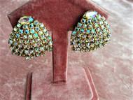 SPARKLING Vintage 1950s Aurora Borealis Rhinestone Earrings Clip On Earrings Vintage Rhinestones Clip Earrings Quality Glamorous Earrings