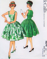 1950s GLAMOROUS Evening Cocktail Dress Pattern McCALLS 4879 Gorgeous Design Bust 34 Vintage Sewing Pattern UNCUT