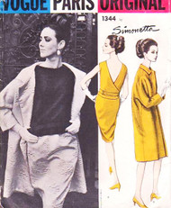 60s Classy SIMONETTA Evening 2 Pc Cocktail Dress and Coat Pattern VOGUE Paris Original 1344 Bust 32 Vintage Sewing Pattern UNCUT