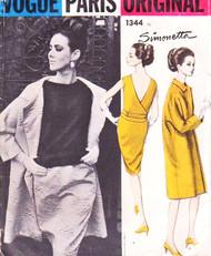 60s Classy SIMONETTA Evening 2 Pc Cocktail Dress and Coat Pattern VOGUE Paris Original 1344 Bust 32 Vintage Sewing Pattern UNCUT
