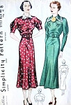 1930s  Simplicity Pattern 2123 Shaped Yoke Dress Interesting Graduated Front Panel Inset Design Very Pretty Style