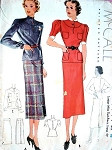 1930s McCall Pattern 9044 Two Pc Dress Slim Skirt Peplum Top Keyhole Neckline