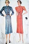 1930s DRESS PATTERN INTERESTING NECKLINE STYLES B 34 FF