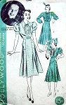 1940s HOLLYWOOD PATTERN 1548 CUTE DRESS SIX GORED SKIRT 2 PRETTY SLEEVE STYLES BIB STYLE BODICE FEATURES MOVIE STAR ANN SHERIDAN