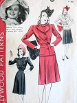 1940s  DRESS, FITTED JACKET PATTERN WARNER BROS MOVIE STAR ROSEMARY LANE HOLLYWOOD 513