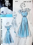 1930s BEAUTIFUL  DRESS PATTERN  PERFECT FOR SHEER FABRICS HOLLYWOOD PATTERNS FEATURING JOAN BENNETT
