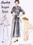 1940s STRIKING Side Draped Dress Pattern SIMPLICITY DESIGNER 8176  Stunning Day or Cocktail Evening Dress Bust 30 Vintage Sewing Pattern