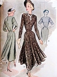 1940s STYLISH DRESS PATTERN UNIQUE BACK, FRONT PANELS McCALL 7794 Bust 34