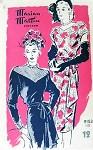 1940s Marian Martin Pattern 9153 Film Noir Style Dress Side Cascade Drape V Neckline or Lace Covered Striking Design