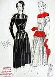 1940s DRESS PATTERN LONG TORSO, HIPLINE INTEREST BUTTERICK 4378