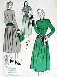 1940s  DRESS PATTERN HIPLINE YOKE ACCENTS, DIRNDL SKIRT BUTTERICK 4343