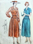 1940s BEAUTIFUL DRESS PATTERN FLATTERING PIN TUCKS, V NECKLINE VOGUE PATTERNS 6439