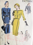 1940s Striking Slim Dress Pattern VOGUE 5267  Two Style Versions Very Film Noir Design Bust 34 Vintage Sewing Pattern