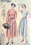 1940s Beautiful Dress Pattern Low U Shape NecklineFull Skirted Vogue 6391 Vintage Sewing Pattern Bust 30