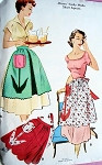 1950s LOVELY Aprons Pattern McCALLS 1781 Pretty TULIP APPLIQUES One Size Easy To Make Aprons Vintage Sewing Pattern
