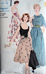 50s EVENING  BLOUSE,OVERBLOUSE,SKIRT, CUMMERBUND PATTERN  VOGUE 9655