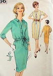VINTAGE SIMPLICITY 1960S SLIM SHIRTDRESS WITH TRANSFER FOR MONOGRAM PATTERN 4766