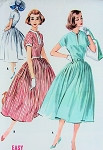 1950s EASY TO SEW FULL SKIRTED DRESS PATTERN PRETTY SLIT NECKLINE McCALLS 4114 Vintage Sewing Pattern