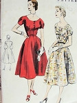 1950s  PRETTY PRINCESS FITTED DRESS PATTERN LOVELY SHAPED BODICE, OPEN ROUND NECKLINE VOGUE PATTERNS 8307