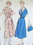 1950s DRESS, BOLERO JACKET PATTERN PRETTY NOTCHED V NECKLINE McCALLS 3235