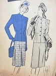 1940s SUIT PATTERN  INTERESTING TUCK DETAIL, SOFTLY TAILORED, INVERTED FRONT PLEAT SKIRT BUTTERICK 3538