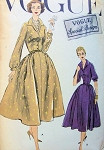 1950s  LOVELY SHIRT DRESS PATTERN, DEEP V NECKLINE, SHAPED COLLAR, FULL SKIRT VOGUE SPECIAL DESIGN 4730