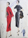 1950s  EASY TO MAKE SLIM DRESS, JACKET PATTERN CLASSIC STYLE VOGUE SEWING PATTERNS 8076