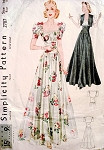 1930s EVENING DRESS, BOLERO PATTERN LOVELY  DEEP SQUARE NECKLINE SIMPLICITY 2787
