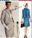 1960s MOLYNEUX 3 Pc Suit Pattern VOGUE PARIS ORIGINAL 1740 Daytime or Evening Classy Slim Skirt Semi Fitted Jacket and Overblouse Bust 34 Vintage Sewing Pattern UNCUT