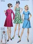 1970s SIMPLICITY 8889 DRESS PATTERN BASIC PRINCESS DRESS, 2 NECKLINE VERSIONS