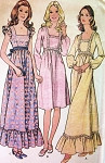 1970sHigh Waisted Dress Pattern McCalls 3131 Regular or Maxi Length Square Neckline 3 Style Versions Bust 32.5 Vintage Sewing Pattern