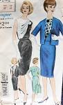 1960s CLASSY DRESS, JACKET PATTERN SHOULDER DRAPED BODICE VOGUE SPECIAL DESIGN 4252