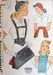 1940s CALOT HAT BAG BELT PATTERN SUSPENDERS and GIRDLE BELT, BELT WITH POCKETS SIMPLICITY 3917 Vintage Sewing Pattern