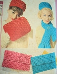 1960s SMOCKED HAT,MUFF, BAG, SCARF PATTERN BEAUTIFUL STYLES FOR SMOCKING SIMPLICITY 4711